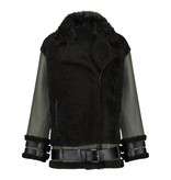 Arma Black Dash Wool and Leather Jacket 030L.176.129