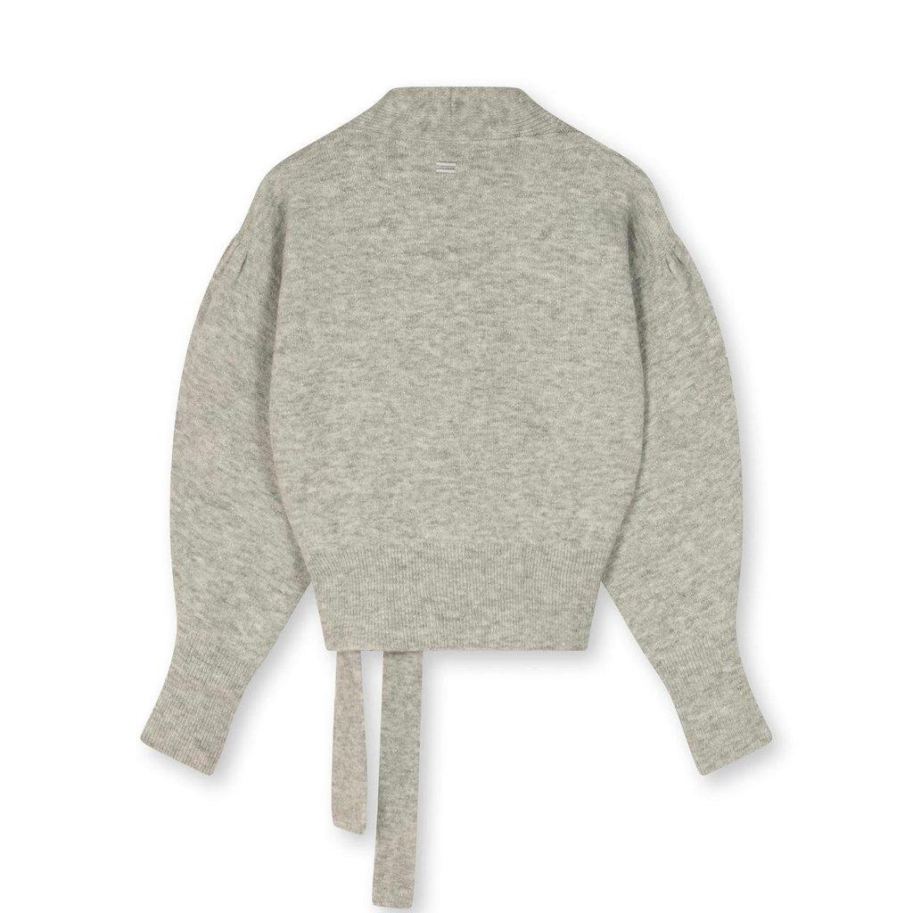 10Days Light Grey Melee wrap cardigan lurex 20-656-1203