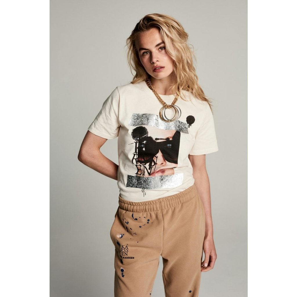 Zoe Karssen Off White Holy Taped Picture Tee ZK-W-FW21-15-00002
