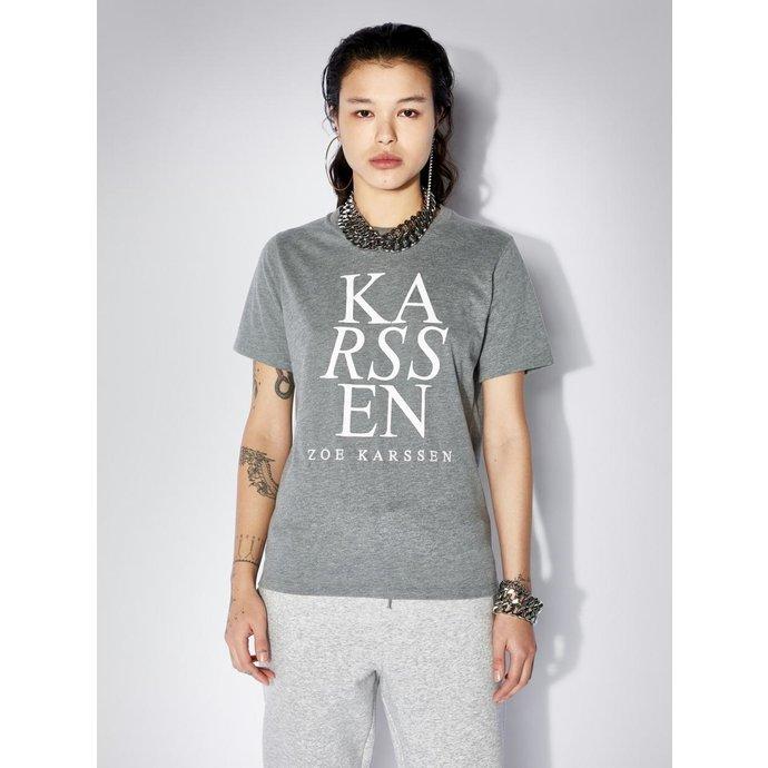 Zoe Karssen Grey melee Holy ZK Logo Regulair Fit Tee ZK-W-20005-F11-00000