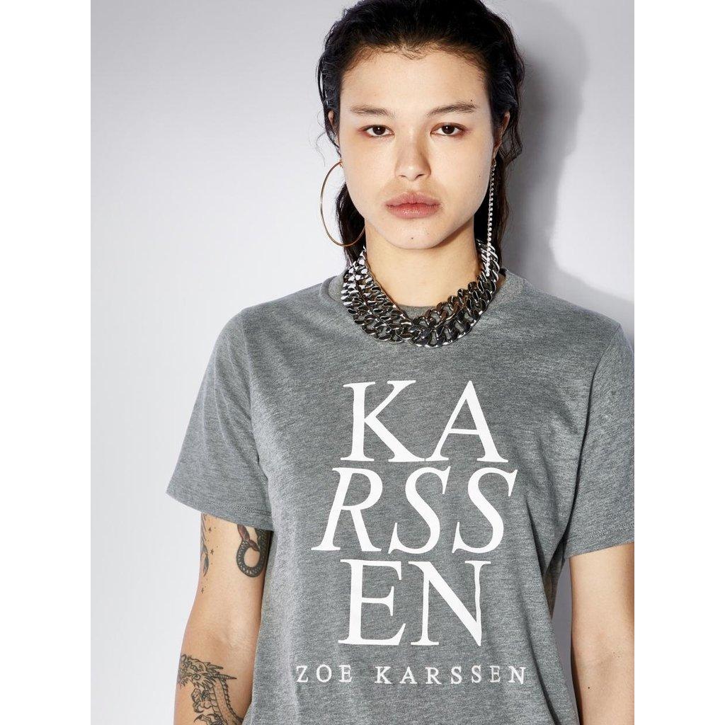 Zoe Karssen Grey melee Holly ZK Logo Regulair Fit Tee ZK-W-20005-F11-00000