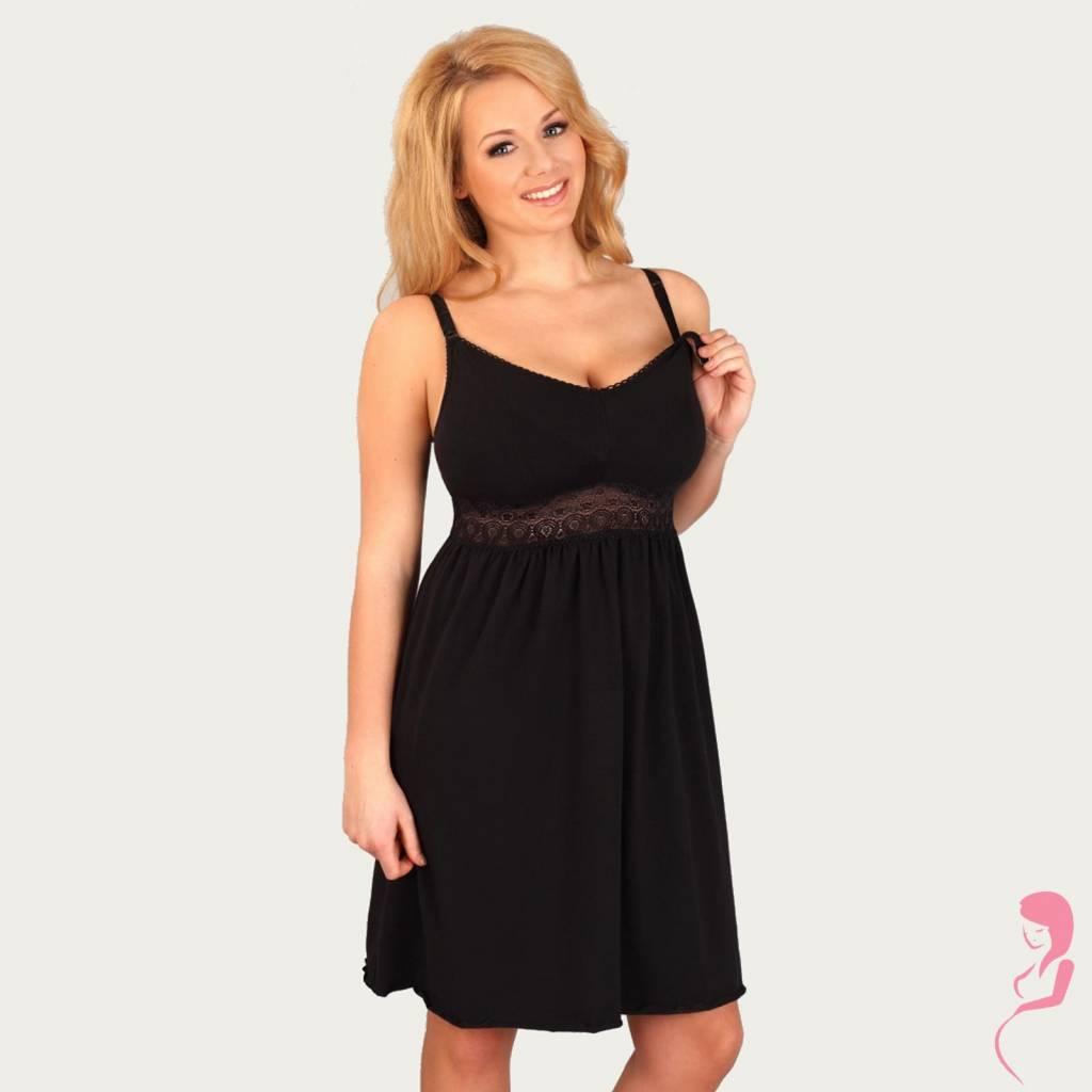 Lupoline Zwangerschapsnachtjurk - Voedingsnachtjurk Sexy Black