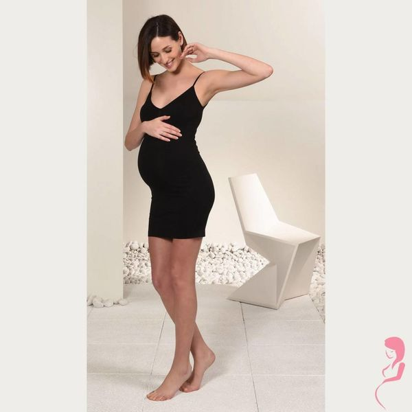 Mamsy Zwangerschaps Onderjurk Naadloos Zwart
