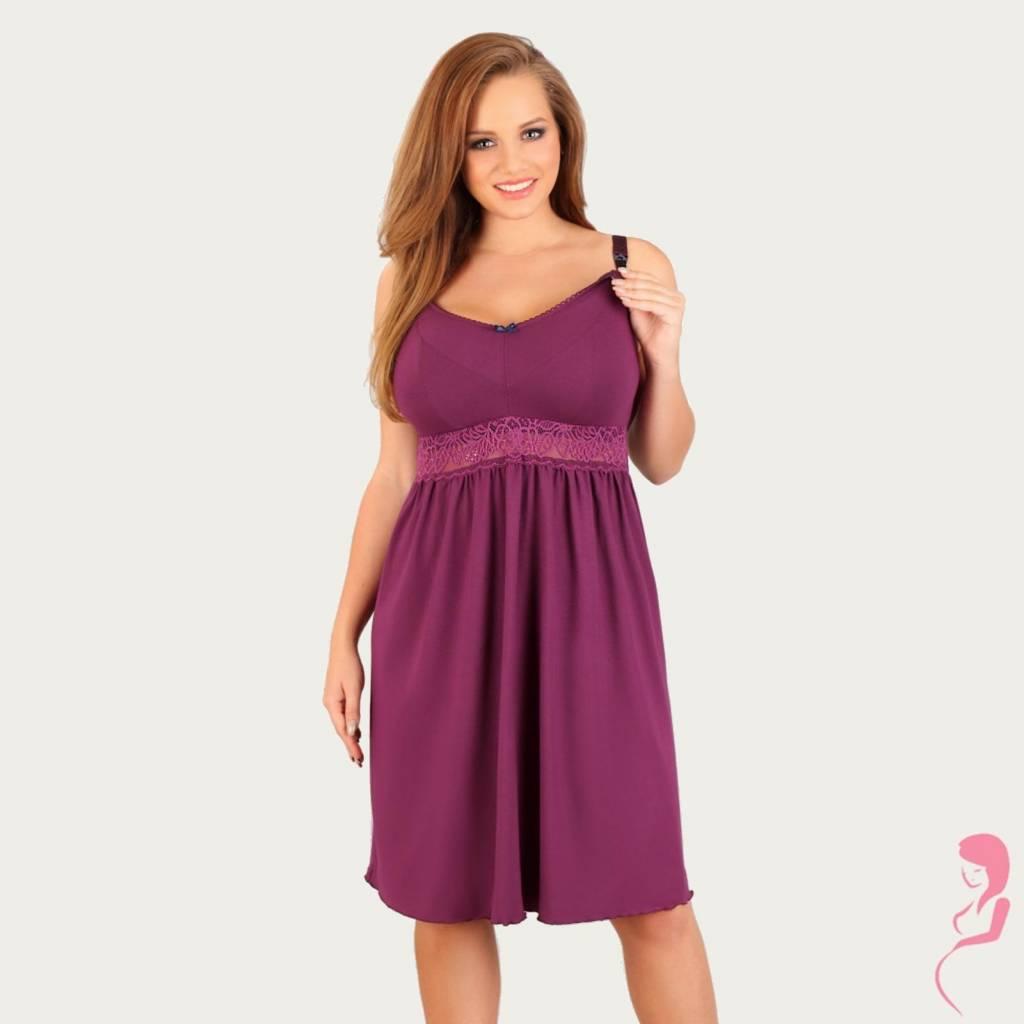 Lupoline Zwangerschapsnachtjurk - Voedingsnachtjurk Purple Dream