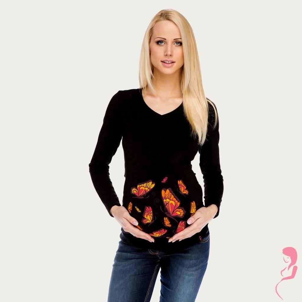 My Tummy Zwangerschapsshirt Longsleeve Lange Mouw Butterfly