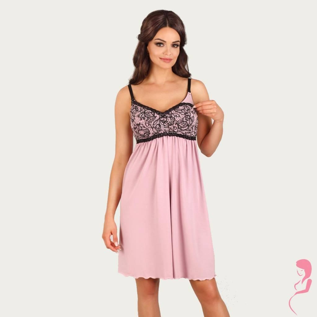 Lupoline Zwangerschapsjurk - Voedingsjurk Black and Pink