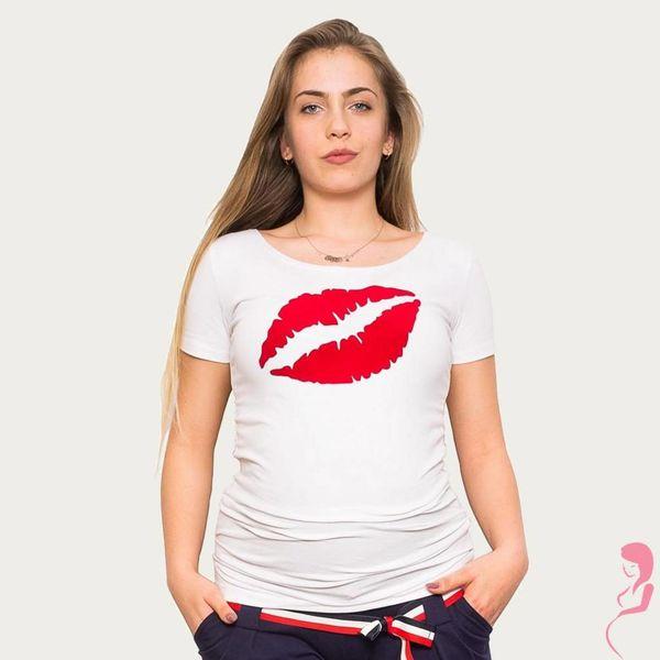 Op en Top Zwanger Zwangerschapsshirt Positieshirt Big Kiss Wit