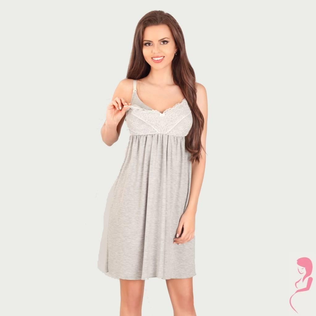 Lupoline Zwangerschapsjurk - Voedingsjurk Romantic Grey