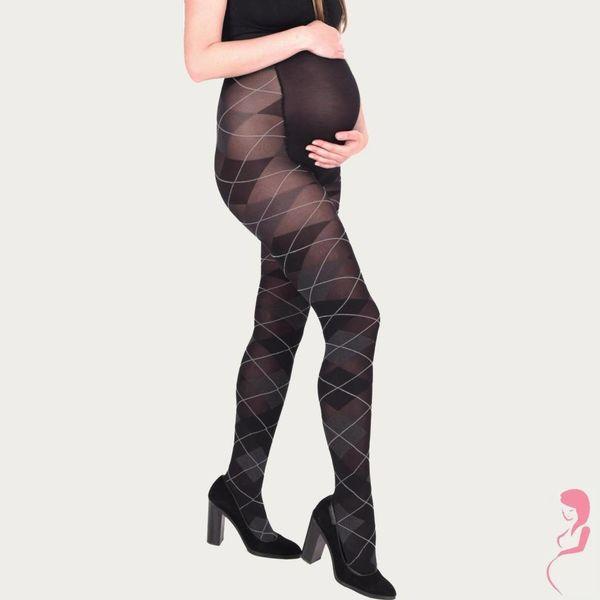 Op en Top Zwanger Zwangerschapspanty Positiepanty Zwart met Grijze Ruit
