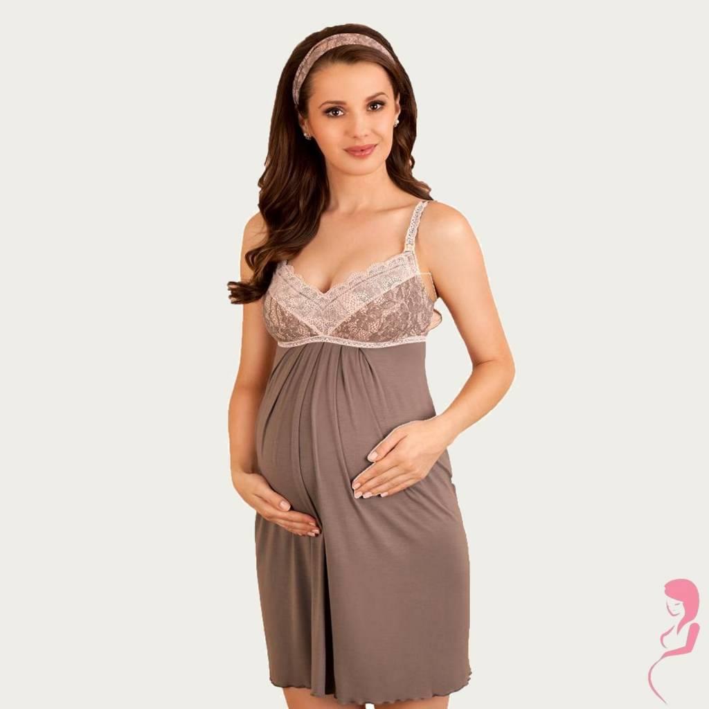 Lupoline Zwangerschapsjurk - Voedingsjurk Cocoa Brown