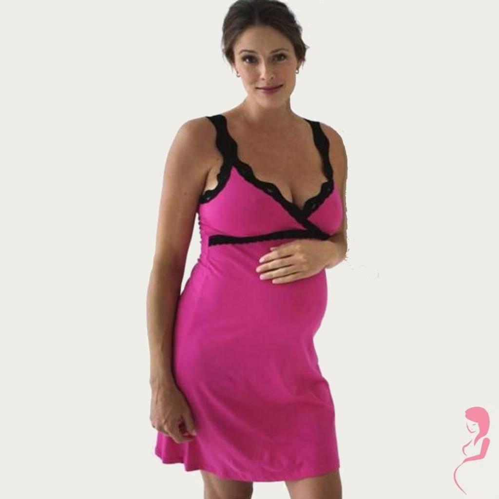 Belabumbum Zwangerschaps nachtjurk Pink/Black