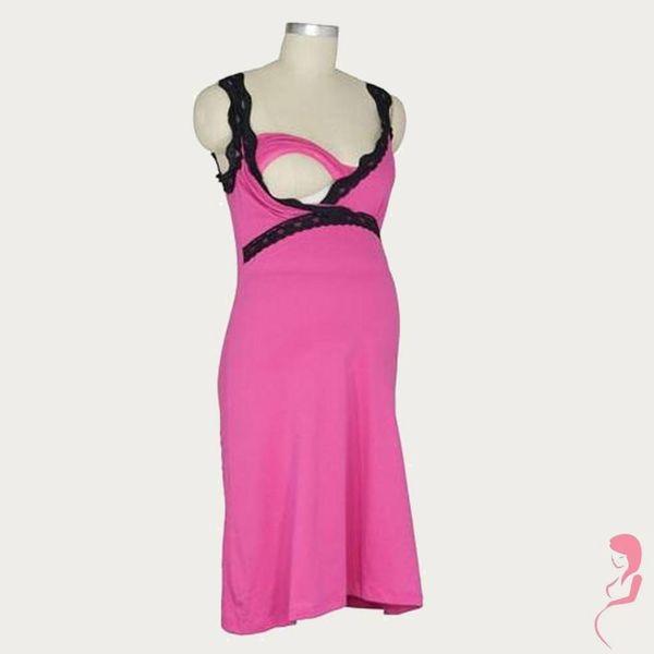 Belabumbum Zwangerschapsnachtjurk / Voedingsnachtjurk  Pink/Black