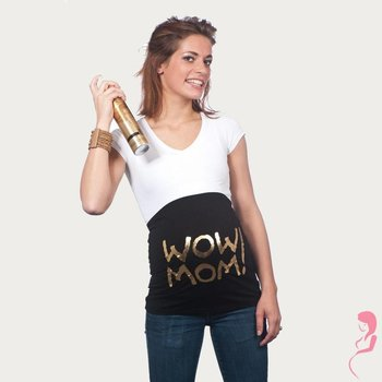 Op en Top Zwanger Zwangerschaps Buikband Wow Mom Zwart/Goud