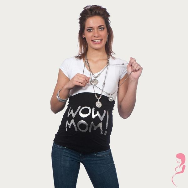 Op en Top Zwanger Zwangerschaps Buikband Wow Mom Zwart/Zilver