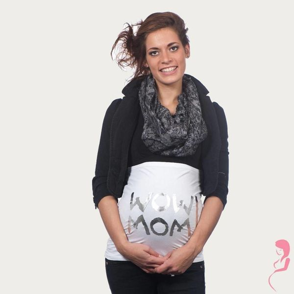 Op en Top Zwanger Zwangerschaps Buikband Wow Mom Wit/Zilver