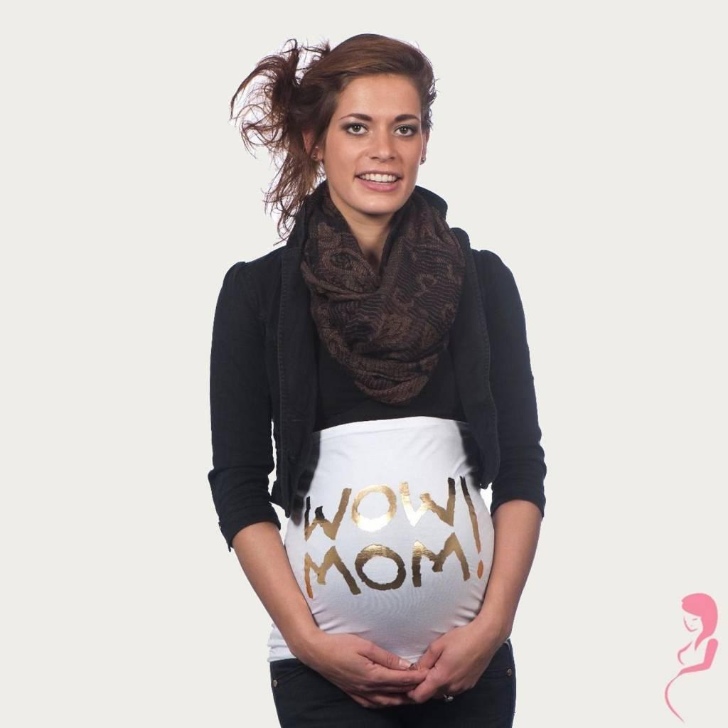 Op en Top Zwanger Zwangerschaps Buikband Wow Mom Wit/Goud