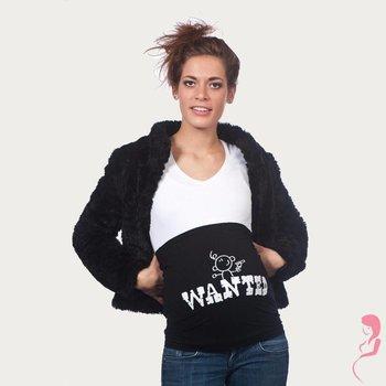 Op en Top Zwanger Zwangerschaps Buikband Wanted Zwart