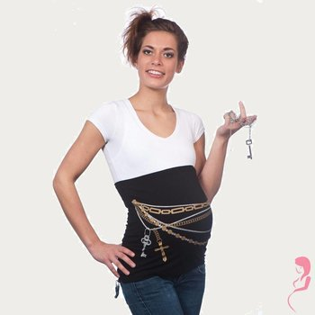 Op en Top Zwanger Zwangerschaps Buikband Sleutels Zwart