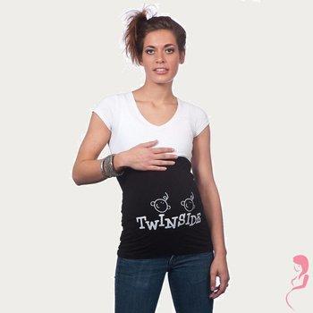 Op en Top Zwanger Zwangerschaps Buikband Twins Inside Zwart
