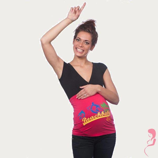Op en Top Zwanger Zwangerschaps Buikband Beach Baby Roze