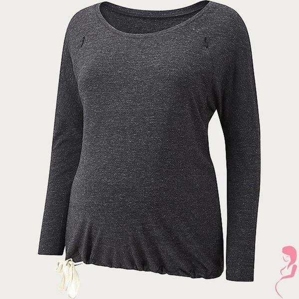 Amoralia Zwangerschaps- voedings Pyjama top Zip Grijs