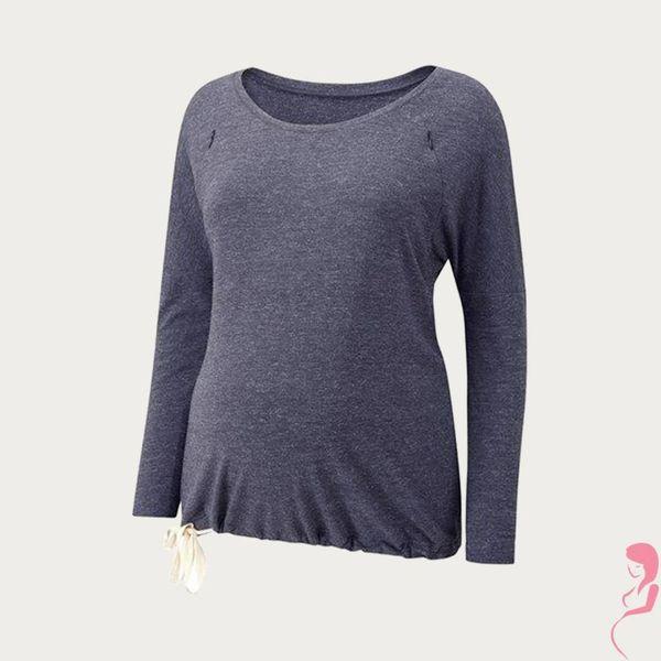 Amoralia Zwangerschaps- voedings Pyjama top Zip Demin