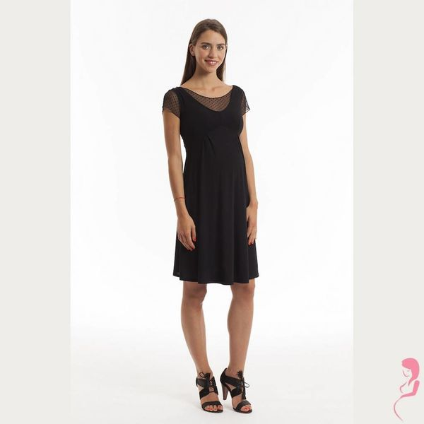 Op en Top Zwanger Jurk Pomkin Jeanette voile jurk zwart