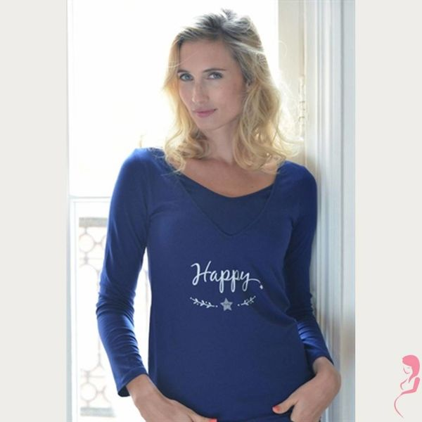 Op en Top Zwanger Zwangerschaps/voedingsshirt Happy
