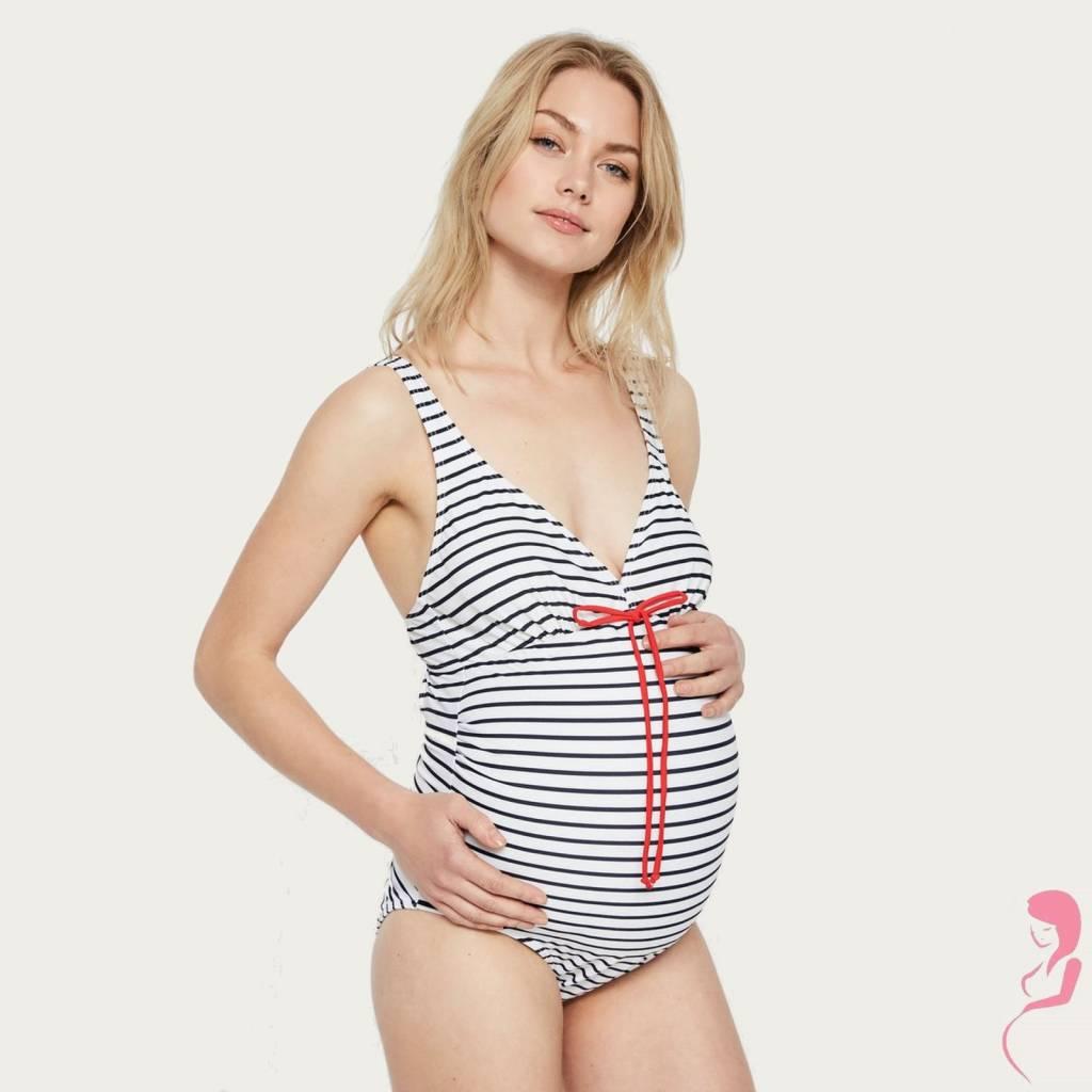 Mamalicious ZwangerschapsBadpak - PositieBadpak Josefine Stripy White
