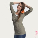 Mothers en Voque Zwangerschapsshirt  Cobblestone lange mouwen