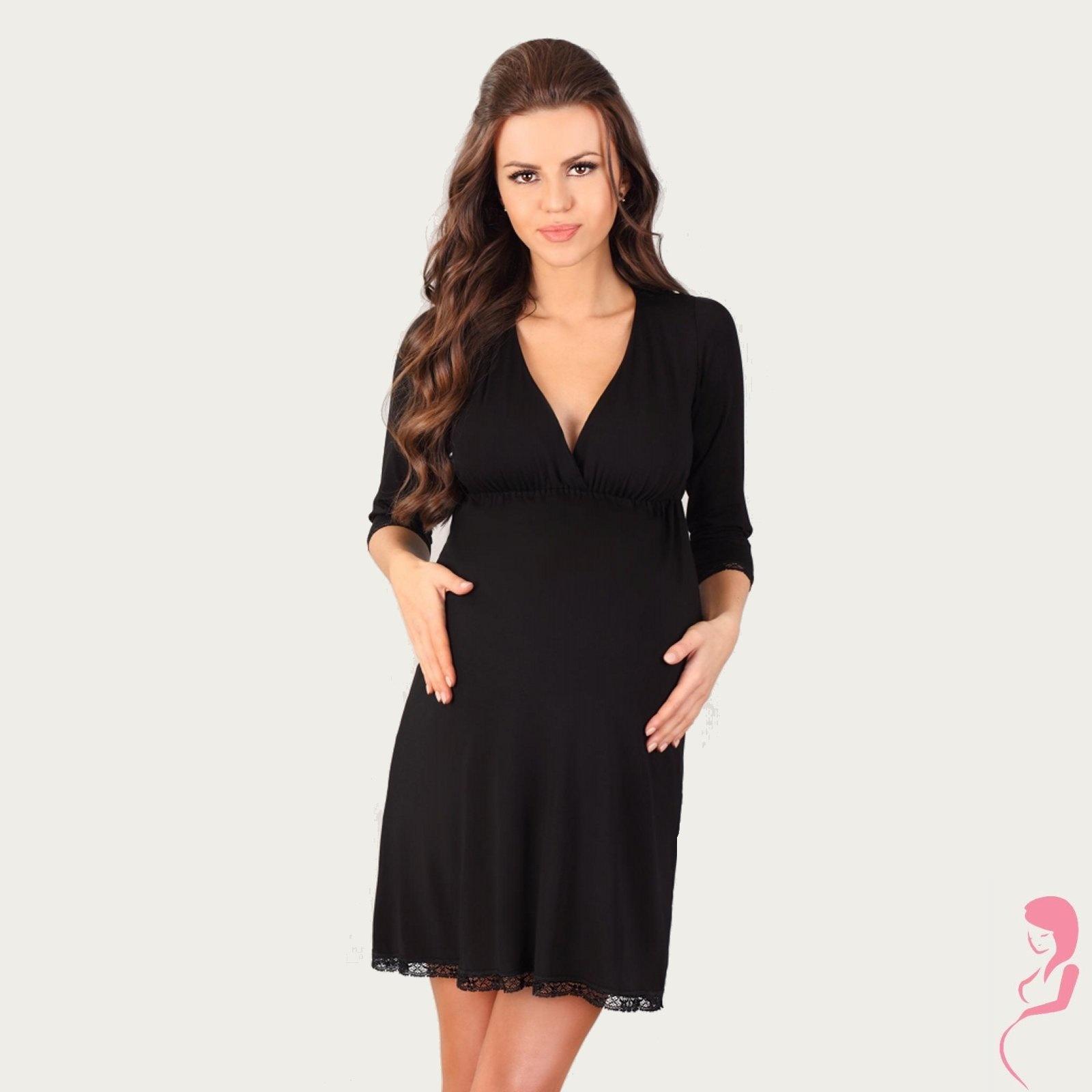 Lupoline Zwangerschapsjurk - Voedingsjurk Black 3/4 mouw