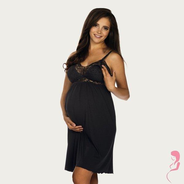 Lupoline Zwangerschapsjurk / Voedingsjurk Deep Black
