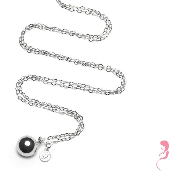 Proud MaMa Zwangerschapsketting Babybel Ketting Heartchain silver-plated [round]
