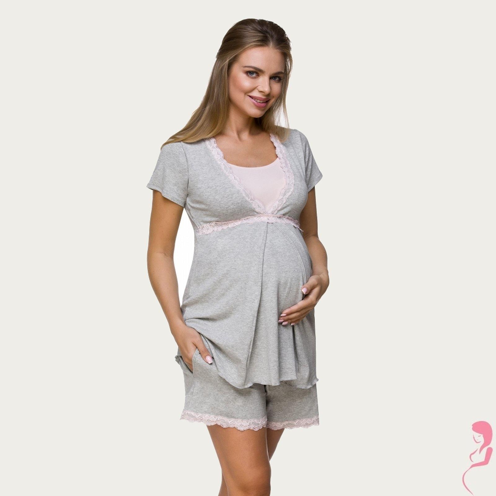 Lupoline Zwangerschapspyama gemeleerd grijs