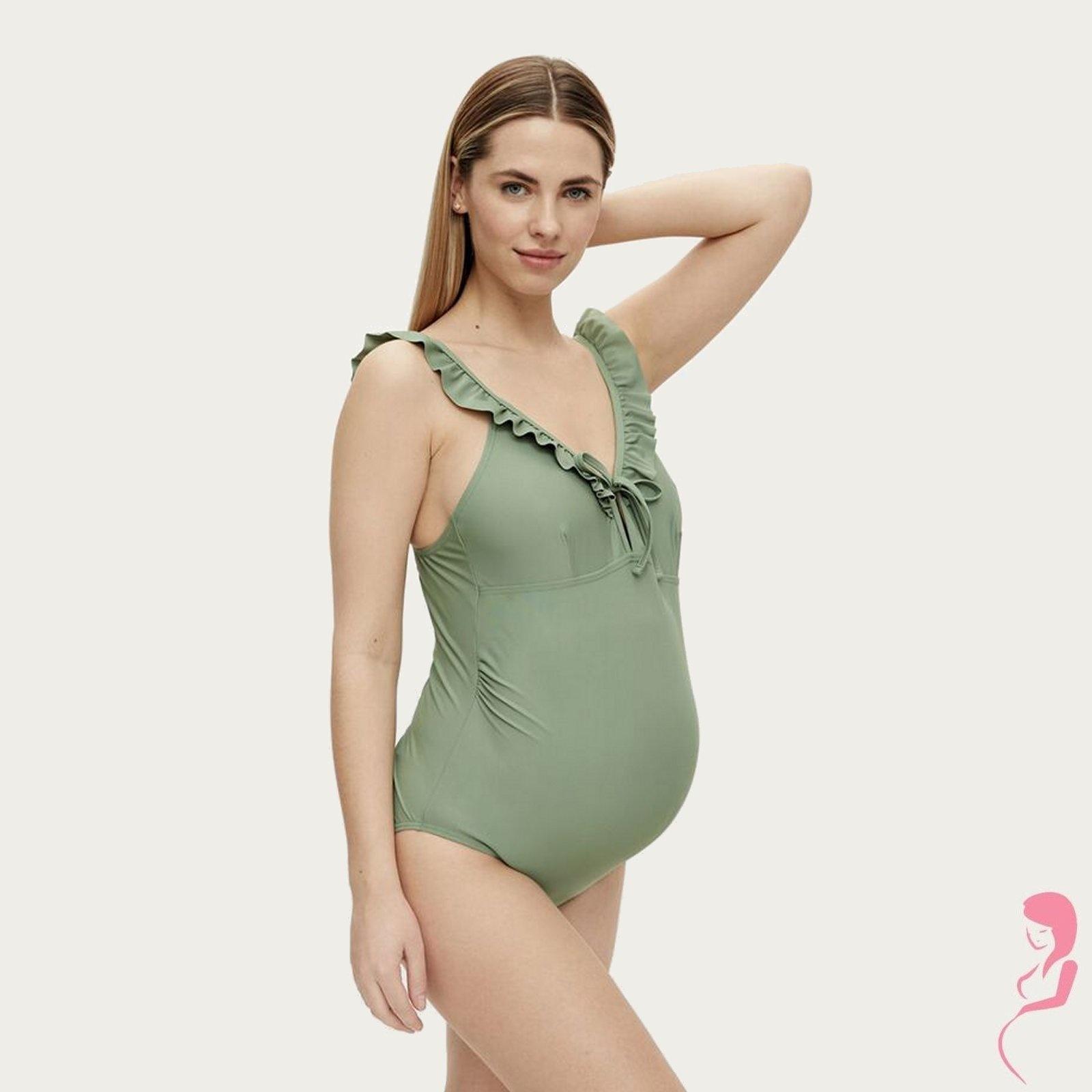Mamalicious ZwangerschapsBadpak - PositieBadpak Anemone Ruffle Groen