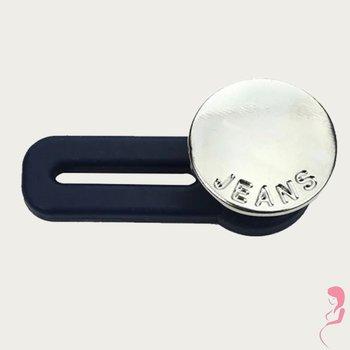 Op en Top Zwanger Broek  Verlenger zilver glad met Jeans tekst