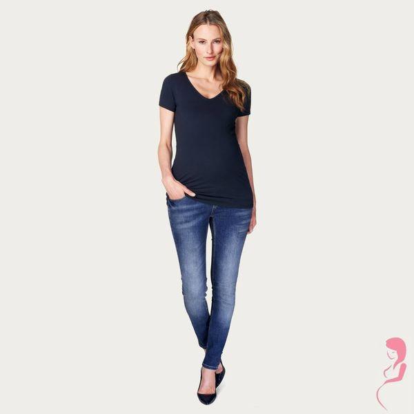 Noppies Zwangerschapsshirt Positieshirt V Hals Amsterdam Korte Mouw Donker Blauw