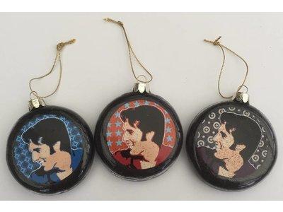 Ornament Portrait Elvis - Set Of Three Christmas Balls