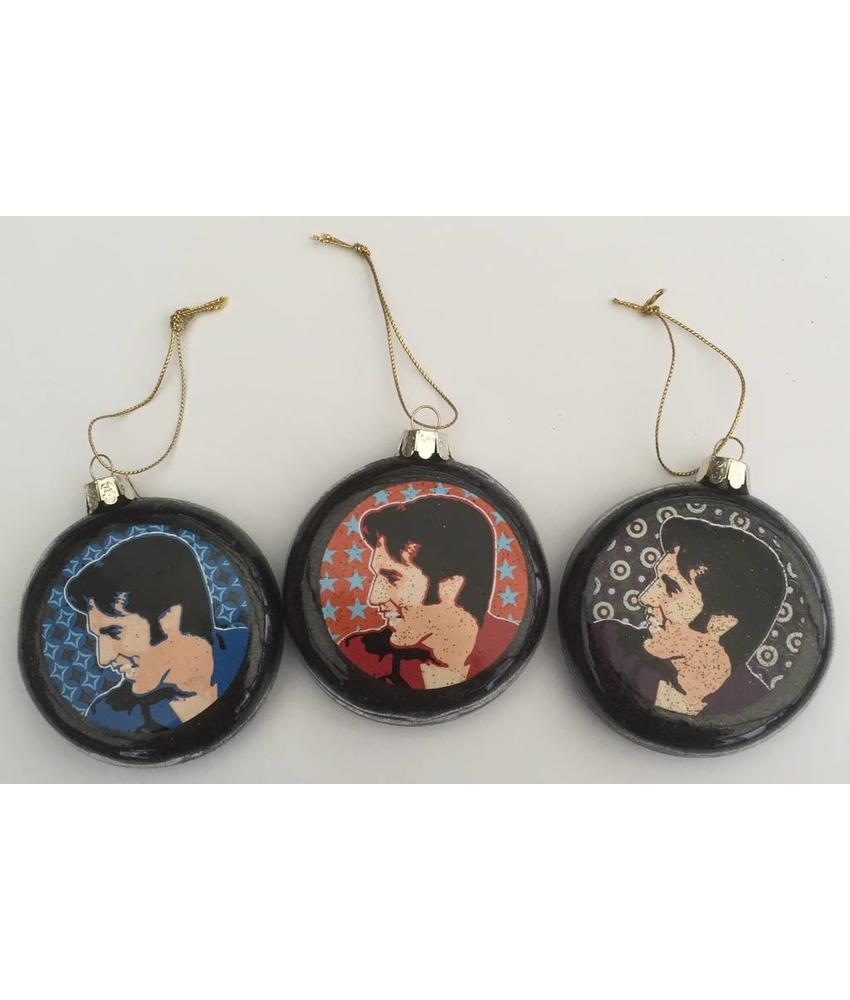 Ornament Portrait Elvis - Set Of Three Christmas Balls