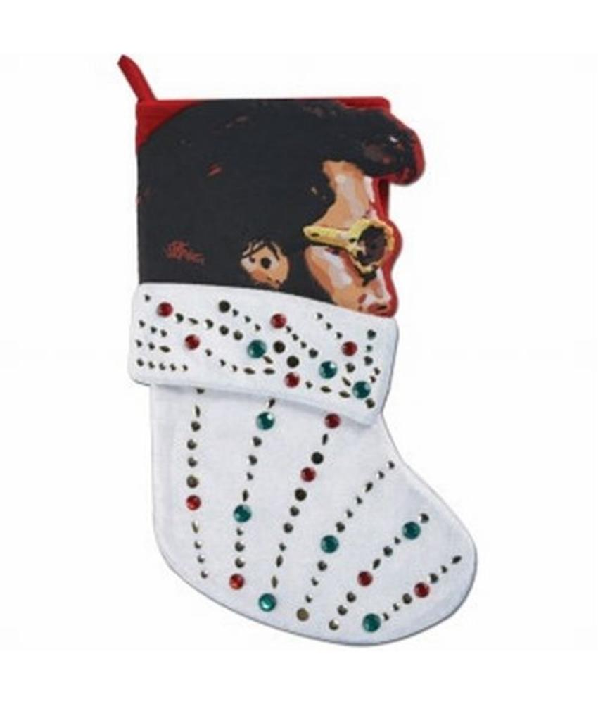 Christmas Stocking - Elvis - Velvet Jeweled Rock