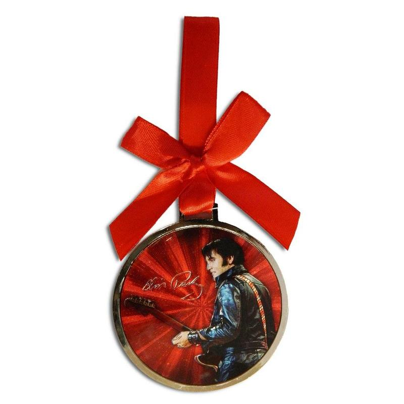 Ornament Elvis '68 Comeback Rond - Rood Lint