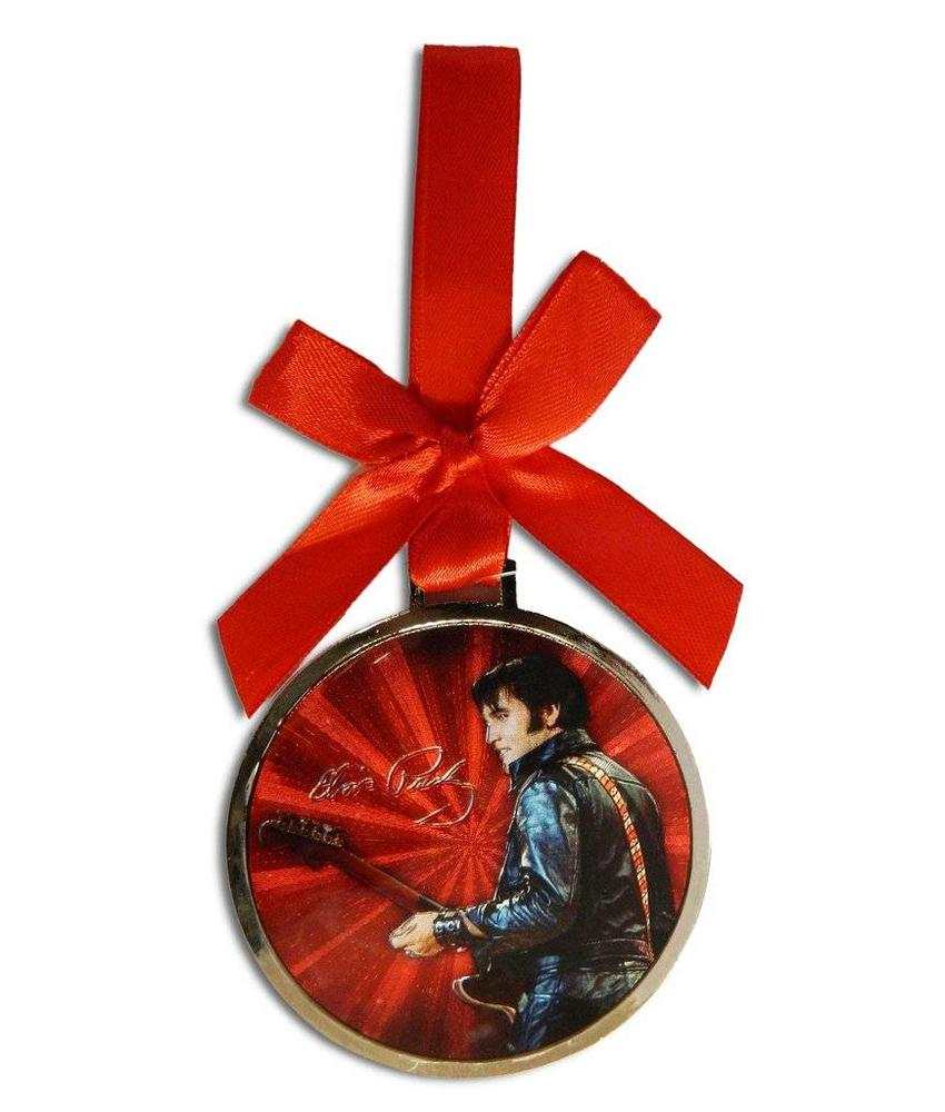 Ornament Elvis '68 Comeback Rond - Rood Lint