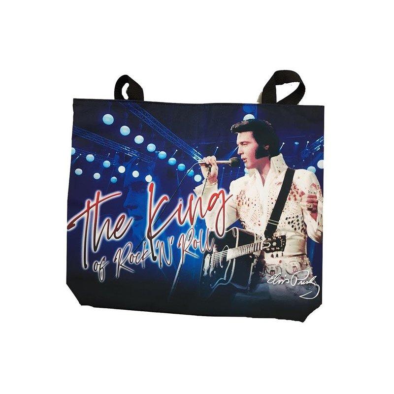 Tas Blauw Elvis The King Of Rock 'n Roll - Groot