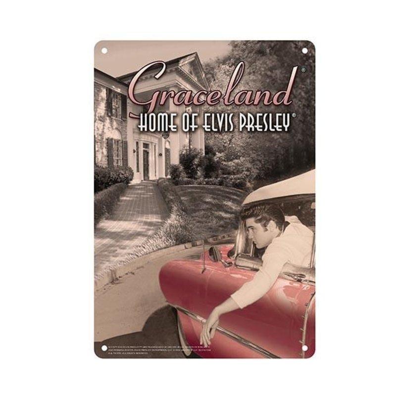 Metalen Bord - Elvis In Car At Graceland