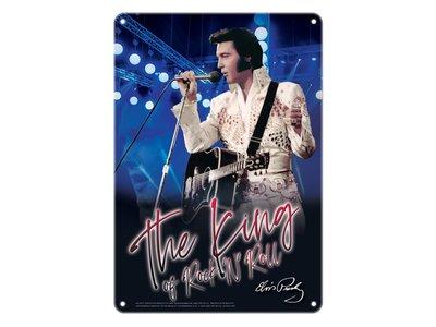 Metalen Bord - Elvis The King Of Rock 'n Roll