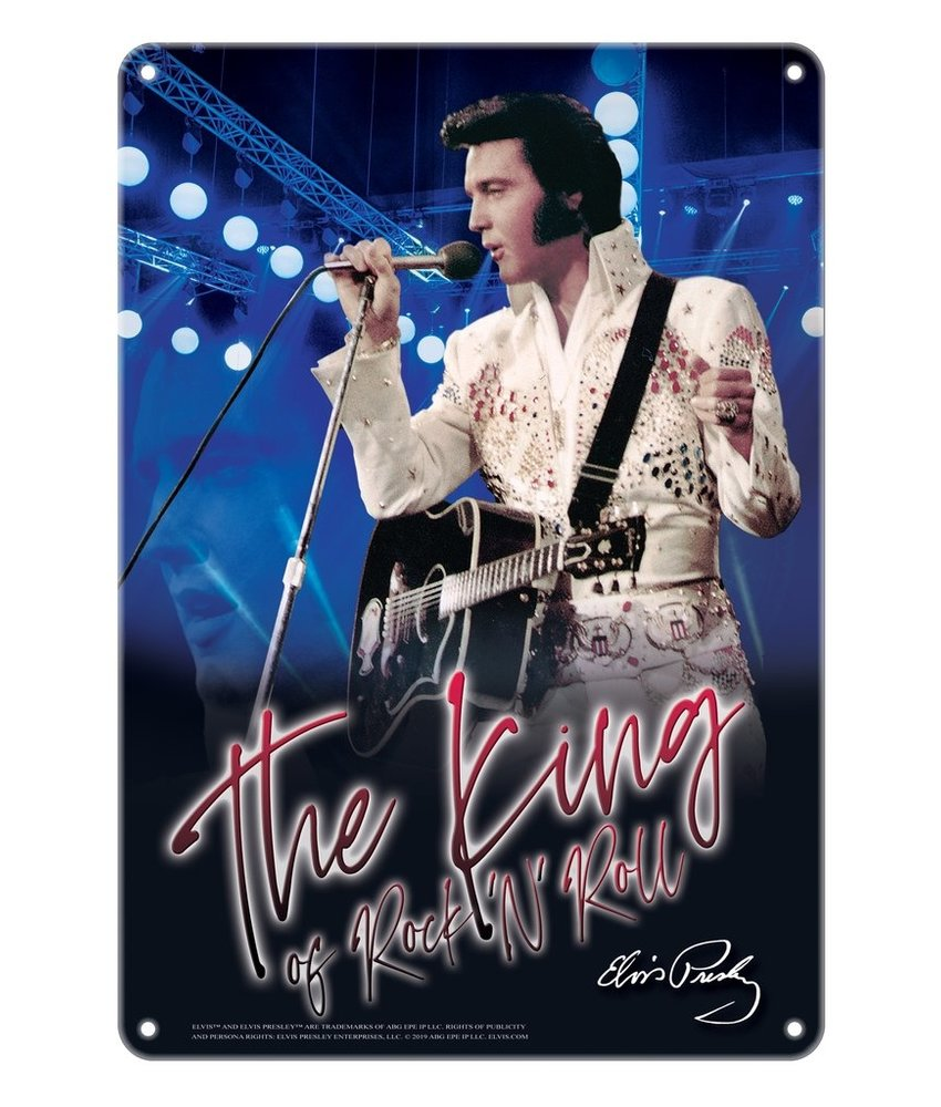 Metalen Bord - Elvis The King Of Rock 'n Roll