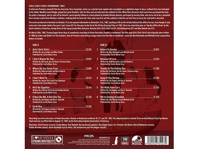 Elvis Presley Girls! Girls! Girls! Black Vinyl - 33 RPM Vinyl My Generation Music Label