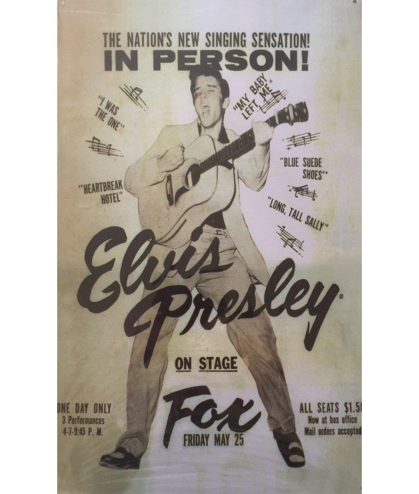 Metalen Bord - Elvis Presley On Stage Fox