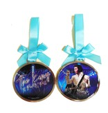 Ornament Elvis The King Of Rock'n Roll  Rond - Blauw Lint