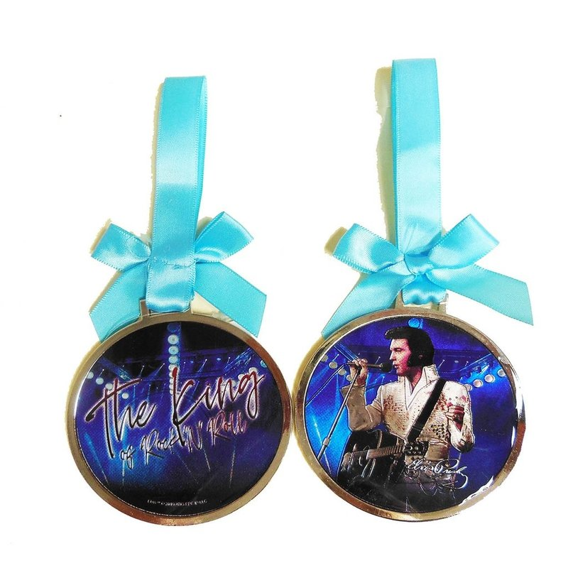 Ornament Elvis The King Of Rock'n Roll Round - Blue Ribbon